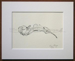 This delicate and deceptively simple pen drawing of a curled gum leaf is from the Meditative Studies 2012 series.