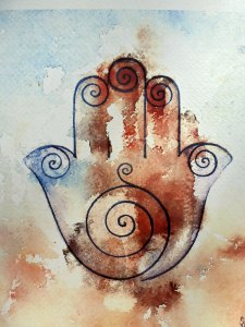 ART Print of a Lovely watercolor in light blue and purple, a Khamsa Healing Hand to bring serenity to your life..